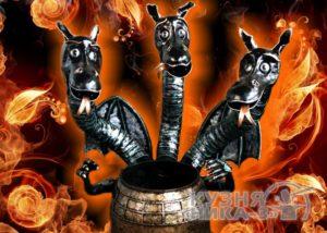 печь Змей Горыныч - кованый казан мангал